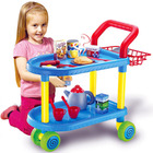 18PC Tea Time Trolley Kids Pretend Kitchen Trolley Service Cart Toy Set