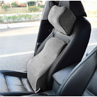 2 PCS Car Chair Seat Head Pillow & Back Lumbar Support Memory Foam Cushion