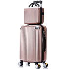 2-Piece Deluxe Ultra Light Tough Standard Cabin Luggage Suitcase Set (Rose Gold)