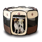 XL Portable Foldable Pet Dog Cat Playpen (Extra Large, Chocolate & Cream)