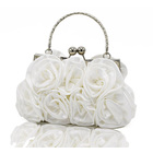 Rose Ladies Event Evening Purse Bag (White)