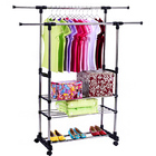 Double 3-Tier Portable Stainless Steel Clothes Shoes Organizer Hanger Rack Garment Dryer