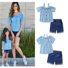 Mother Daughter Matching Outfits (Cold Shoulder Top & Denim Shorts)