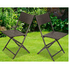 2 x Alfresco Rattan Wicker Foldable Outdoor Chair
