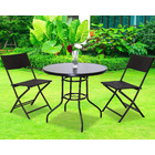 Alfresco 3 Piece Outdoor Setting (2 Rattan Chairs & Round Table)