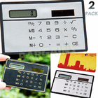 2 x Pocket Credit Card Size Solar Power Calculators ( Black + Silver)
