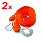 2 x Heavy Duty Car Van Tow Towing Pull Ropes Strap 3 Tonne Road Recovery