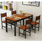 5 x Piece Set Bliss Wood & Steel Dining Table & Chairs (Oak & Black)