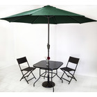 Alfresco 5PC Outdoor Setting (Umbrella & Stand, 2 Rattan Chairs, Square Table)