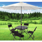 Alfresco 7 Piece Outdoor Setting (Umbrella & Stand, 4 Rattan Chairs, Square Table)