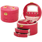 Large Luxury PU Leather Jewellery Box Storage Case (Hot Pink)