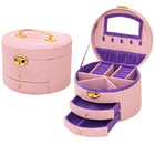 Large Luxury PU Leather Jewellery Box Storage Case (Pink & Purple)