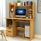 Expert Large Computer Desk Workstation with Shelf & Cabinet (Natural Oak)