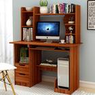 Expert Large Computer Desk Workstation with Shelf & Cabinet (Walnut)