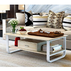 Serenity Wood & Steel Coffee Table with Drawer (White & Oak)