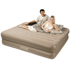 Intex Luxury Pillow Rest Queen Size Inflatable Mattress Air Bed with Built in Electric Pump