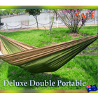 Deluxe Double Portable Fabric Hammock with Ropes Outdoor Travel Camping (Coffee & Green)