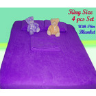 Deluxe King Size 4 pc Set Fitted Sheet +Thin Blanket + Pillowcases PURPLE