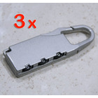 3 x Combination Locks Bags Suitcase Lockers Luggage Padlocks (SILVER)