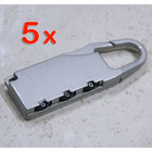 5 x Combination Locks Bags Suitcase Lockers Luggage Padlocks (Silver)