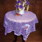 Beautiful Purple Lace Floral Luxury Linen Tablecloth with Embroidery Table Cover