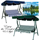 3-Person Outdoor Swing Chair with Padded Cushion