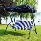 3-Person Outdoor Swing Chair with Padded Cushion Blue