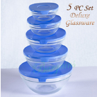 5 PC  Food Storage Glassware Set Tempered Glass Stackable Clear Bowls