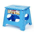 Large 27cm Tall Quality Colourful Kids Foldable Folding Step Stool (Blue)