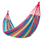 DOUBLE Large Cotton Hammock with Bag (PINK ORANGE BLUE GREEN STRIPES)