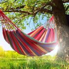 DOUBLE Large Cotton Hammock with Bag (Red Stripes)