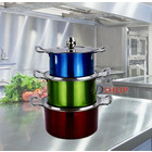 3-Piece Metallic Colourful Stainless Steel Cookware Saucepan Casserole Stock Pot Set