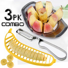 3 PK Combo: 1x Stainless Steel Apple Corer + 1x Banana Cutter + 1x Stainless Steel Fruit Peeler