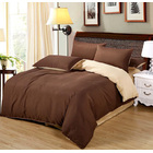 Luxe Home 4 Piece Quilt Cover Bedding Set (Chocolate & Cream)