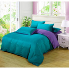 Luxe Home 4 Piece Quilt Cover Bedding Set (Aqua Blue & Purple)