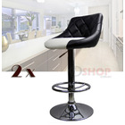 2 x Varossa Symphony High Back Bar Stools (Black Back & White Base)