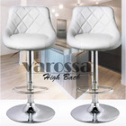 2 x Varossa's Symphony High Back Bar Stools (White)