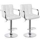 2 x Varossa Elegance High Back Bar Stools (White -Set of 2)
