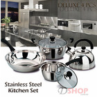 4-Piece Deluxe Stainless Steel Kitchen Cookware Pots Pan Set with Kettle