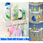 Bath Rack with Drawer & Hooks Bathroom / Kitchen Shelf