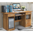 Executive Office Computer Desk with Drawers, Cabinet, Shelves (Natural Oak)