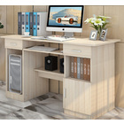 Executive Office Computer Desk with Drawers, Cabinet, Shelves (White Oak)