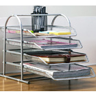 4-Tier Office Document Tray Paper/Magazine Metal  Holder (Grey)
