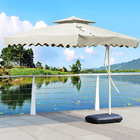 Varossa 3.5m Large Square Cantilever Outdoor Umbrella (White / Cream)