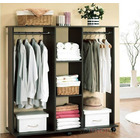 Varossa's Spacesaver Wardrobe Cupboard Shelves & Clothes Hanging Racks Furniture (Black Walnut)