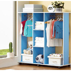 Varossa's Spacesaver Wardrobe Cupboard Shelves & Clothes Hanging Racks Furniture (Blue)
