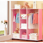 Varossa's Spacesaver Wardrobe Cupboard Shelves & Clothes Hanging Racks Furniture (Pink)