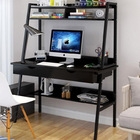 Liberty Tall Computer Desk Workstation with Shelves & Drawers (Black)