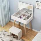 Glamor Dresser Table with Mirror, Stool and Storage Shelves Set