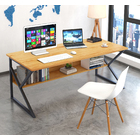 Kori Large Wood & Metal Computer Desk with Shelf (Oak)